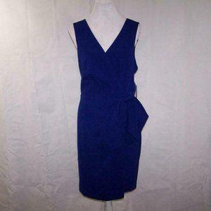 Eliza J Dress 18 Faux Wrap Sleeveless V-Neck Blue